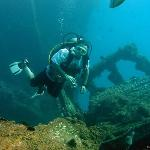 Photo of Jay Stephenson on the Antilla wreck.