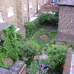 View of church garden from hotel room