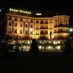 The front of the hotel by night