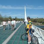 biking on the Sundial Bridge, Redding