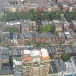 Newbury Street from the Skywalk - Guest House has pink parasol in front yard, if you can...