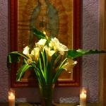 Flowered shrine to Virgin in Trebol lobby