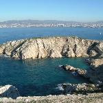 a calanque on frioul island & marseille in the back