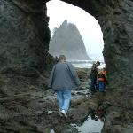 checking out the tide pools while walking through hole in the wall