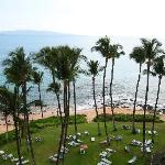 View of grounds and beach from 7th floor balcony