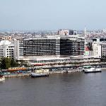 View of hotel from across the river