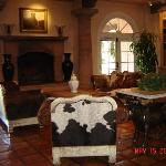The Inn's lobby has a ranch theme