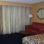 Room 248, view of the hide-a-bed couch and rest of room, facing the sliding glass doors and...
