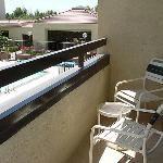 Room 248, balcony and view of the pool area