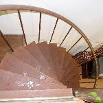 Staircase between the main floor and the loft