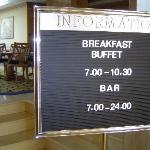 Sign clearly stating that the only food you can get is at breakfast