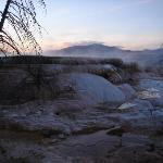 Mammoth hot spring close to dusk