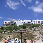Looking Up at Mykonos Grand From Beach
