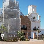 Mission San Xavier del Bac front facade & tower scaffolding