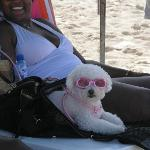 Chillin on the beach with her shades on!