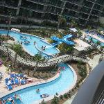 View of pools/slide/lazy river from balcony
