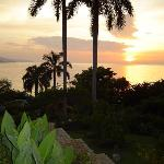 Sunset viewed from villa front lawn