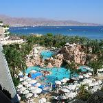 view of the Gulf of Eilat and pool from our room