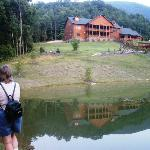 House Mountain Inn is reflected into the pond that sits at the base of the summit.