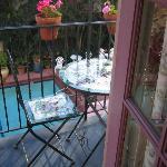 Balcony, table, pool...