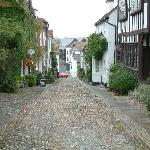 Mermaid Street, Rye, looking down, with Jeake's House on the left.
