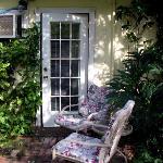 Sitting area in garden outside of room