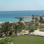 View to the Hilton Plaza's private beach.