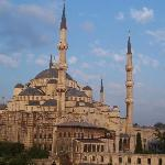 View of Blue Mosque from hotel room in the afternoon.