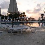 sunset over adult pool
