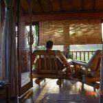 the verandah with view of the ricefields
