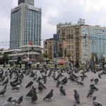 The Taksim Square with the hotel in the background to the right.