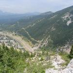 View of the Crowsnest Pass from halfway up Turtle Mountain.