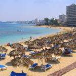 Hotel's beach with Varosha on background