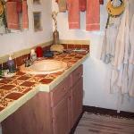Our bathroom sink area in the Los Pajaritos room