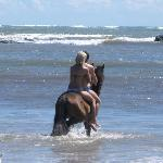 Horseback riding in the ocean!