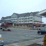 View of the hotel from the bulk food shop lot