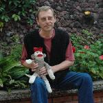 Owner attends to all Sock-monkey's needs