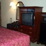T.V., mini-fridge, and microwave in King Deluxe w/jacuzzi.