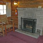 Gas fireplace at Signal Mtn cabin