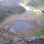 This tiny puddle is all that remains of the crater lake