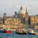 Valletta at dusk viewed from Sliema Creek