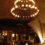 vaulted ceiling of restaurant