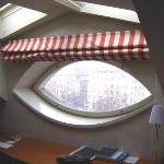 Deco eye shaped window with view