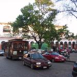 zocalo in san cristobal, hotel in street on left