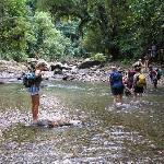 Splashing through the river