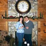 Newlyweds in front of the fireplace at VCB&B