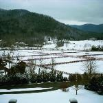 View of the snow-covered valley from the front porch of VCB&B