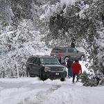Snow in Amador county, car gets stuck.