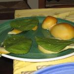 Cheese Grilled in Lemon Leaves