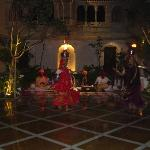 Indian dance show in a hotel courtyard